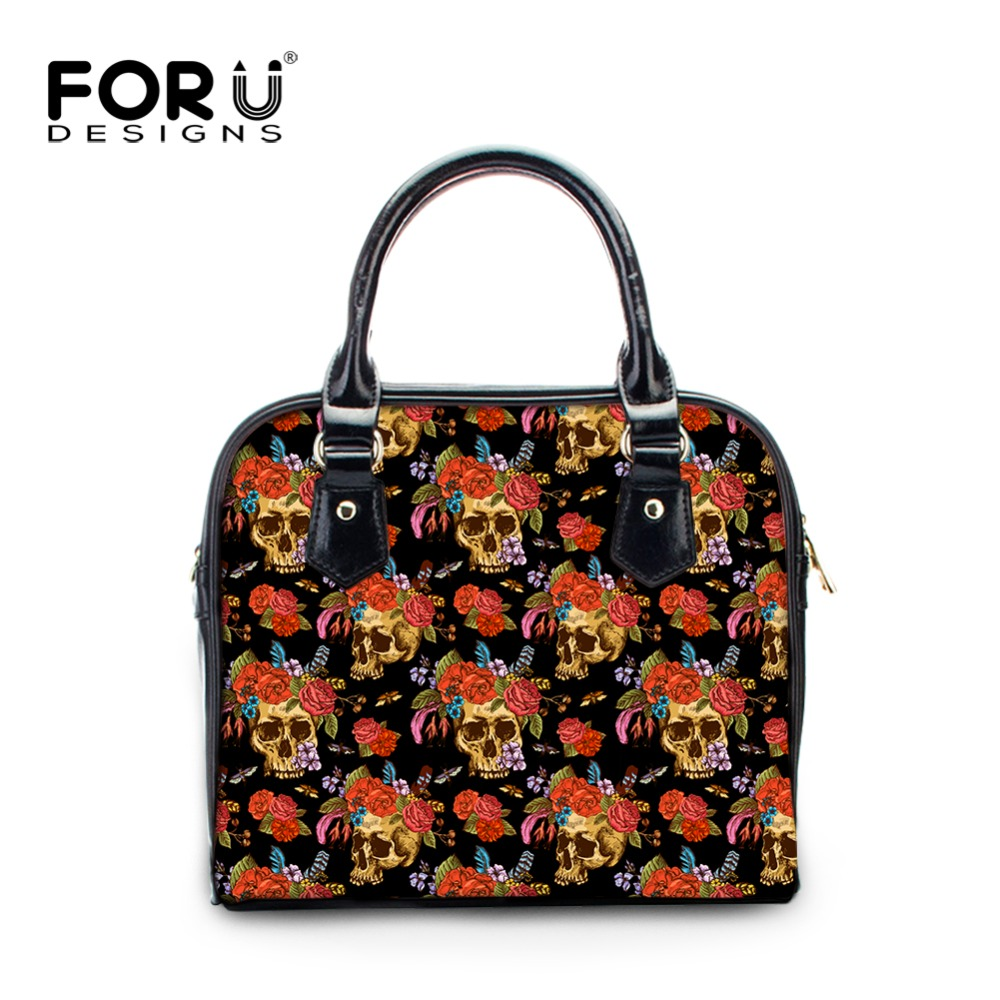 FORUDESIGNS Designer Handbag High Quality Cool Skull Printing PU Leather Women Handbags Ladies Crossbody Shoulder Bag Small Tote