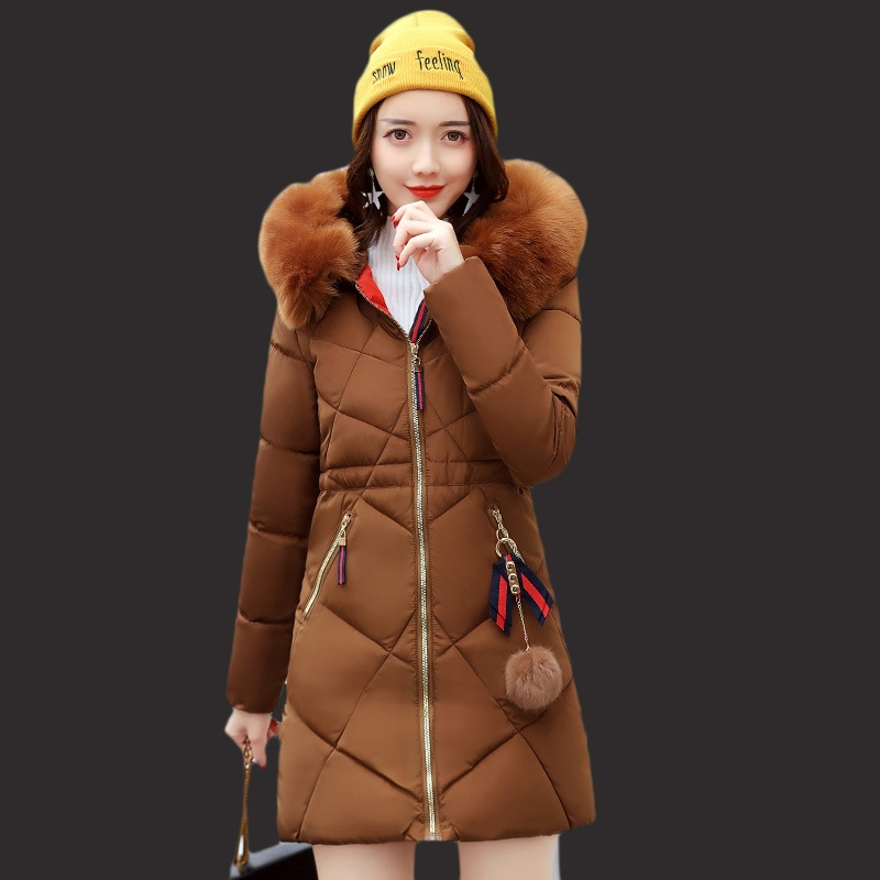 New winter jacket women in the long fashion women parka self-cultivation thick coat girl big fur collar down jacket warm jacket 2017 new winter women winter women in the long section of thick cotton coat fur collar jacket cold winter jacket size m xxl