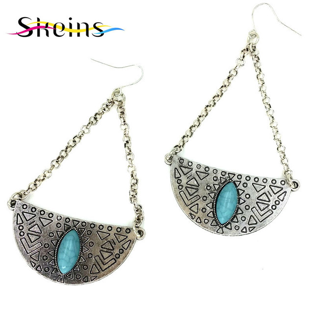 New Arrival High Quality Of Ancient Silver Tel Earring Spanish Monopoly Moon Drop Earrings Bohemian