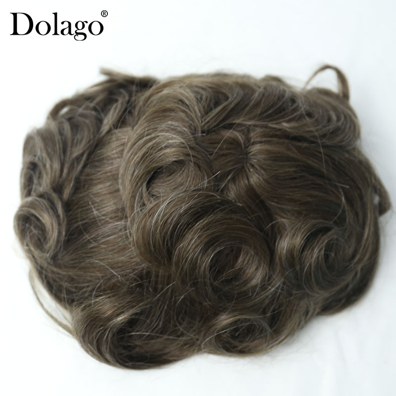 Durable Skin Around Swiss Lace Natural Hair Men Toupee Natural Looking Real Human Hair 9x7 Inches #420 Base Dolago