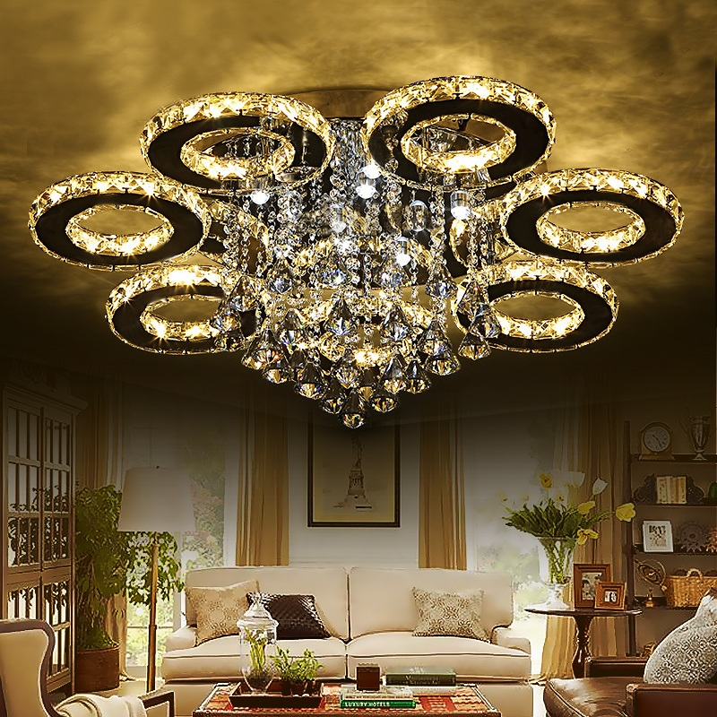 Modern luxury crystal led ceiling Lights lighting living room bedroom lighting creative restaurant Ceiling lamp 110-240V image