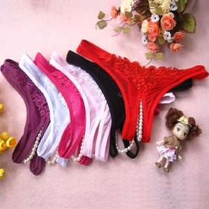 Hot Sexy Lingerie Lace Women G-String Bowknot Low Waist Pearl Thongs Panties Latex Panties Briefs Lingerie Hot Erotic Underwear(China)