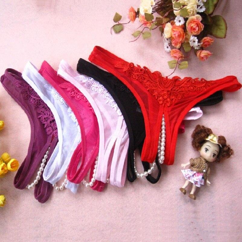 Hot Sexy Lingerie Lace Women G-String Bowknot Low Waist Pearl Thongs   Panties   Latex   Panties   Briefs Lingerie Hot Erotic Underwear