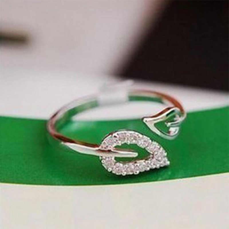 Кольца в форме листа двойные листы, имитация кристалла, Открытое кольцо на кулак, регулируемое золото, серебро, женские обручальные кольца для девочек, ювелирные изделия