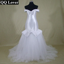 QQ Lover African Satin Tassel Beaded Mermaid Wedding Dress Custom-made Bridal Gowns Wedding Dresses