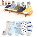 5 Pairs/lot Spring and Autumn  Pure Cotton Children Socks Stripe Stars Boy's Money Thin Cotton ATWS0241
