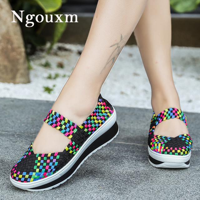 be3674fee Ngouxm summer women flat platform shoes woven elastic shoes female slip on  Sneakers nylon loafers ladies mocasines de mujer