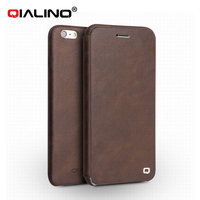 QIALINO New Style High Quality Flip Cover For IPhone 6 6s Ultra Slim Real Leather Pure
