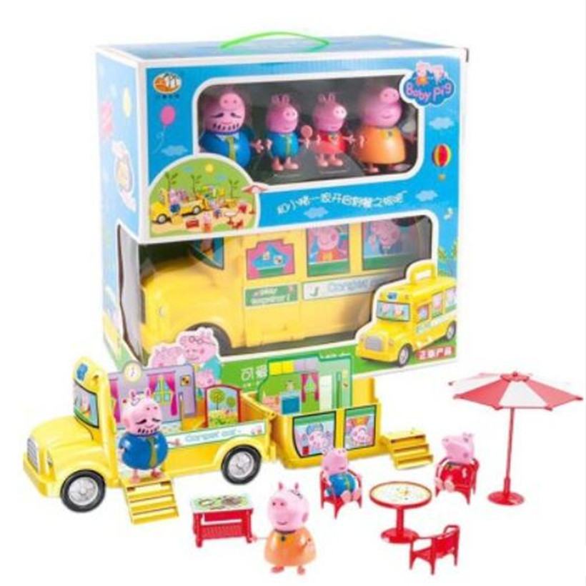 Peppa Pig George Dad Mom Family Picnic Car Toys Action Figure Pelucia Toys For Children Gifts