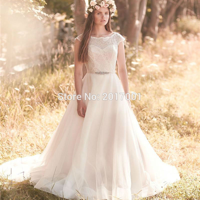 2016 Plus Size Modest Wedding Dresses A Line Scoop Vintage