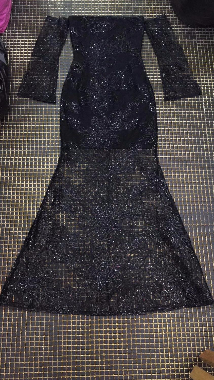 Robe Outre L'épaule Sexy 2018 Long Designer Pour Dentelle D'été Bandage Paillettes Moulante Femmes Parti Mode De Noir Nouveau IxqwRtPCt