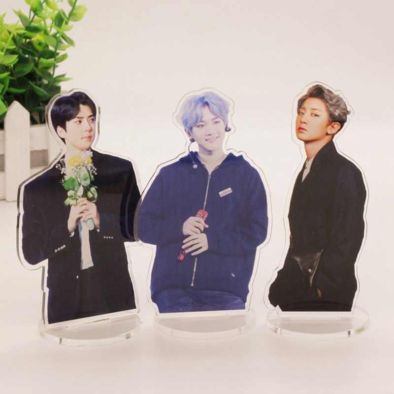 EXO Cute Standing Action Figure Doll Acrylic Stand Action Table Decor Stationery Set