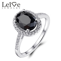 Sterling Silver 925 Black Spinel Ring For Women Natural Gemstone Prong Setting Anniversary Rings Fine Jewelry
