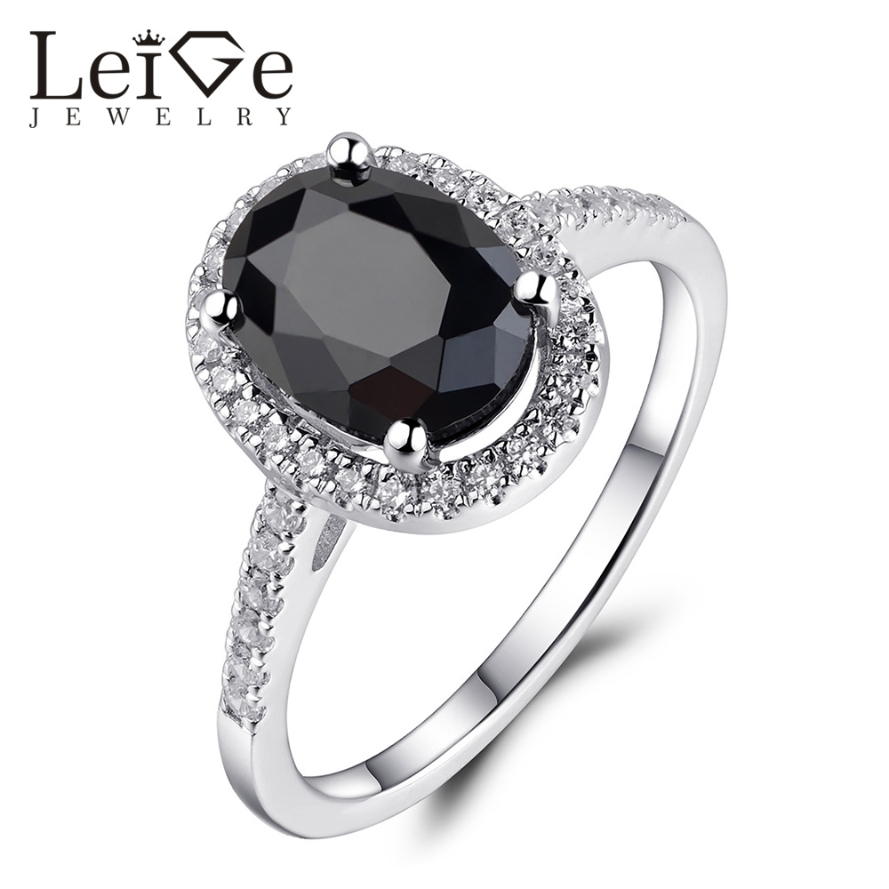 Leige Jewelry Sterling Silver 925 Black Spinel Ring for Women Natural Gemstone Prong Setting Anniversary Rings Christmas Gift