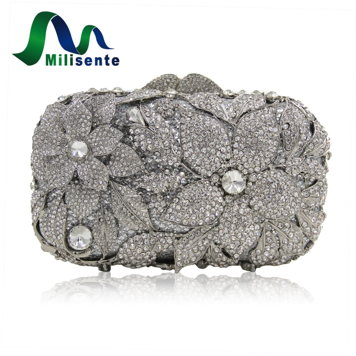 Milisente Top Class Crystal Bags Silver Flower Wedding Party Handbag Luxury Tote Bag Lady Clutch Evening Purse Short Chain as16 9 rose top fashion luxury diamond african handbag purse for party wedding