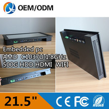 21.5 inch touch screen resolution 1920×1080 x86 single board computer industrial embedded panel pc with celeron C1037U 1.8GHZ