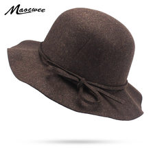 Señoras sombrero de ala Vintage Felt Caps Casual cúpula sombrero de ala  ancha mujeres Iglesia Chapeau 8f986221b7c