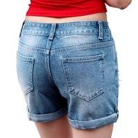 2017 New Arrival Phụ Nữ Ánh Sáng Màu Xanh Lỗ Cạnh Cuộn Denim quần short Ladies Summer Casual Eo Cao Nữ của Ngắn Jean Cô Gái Bottoms
