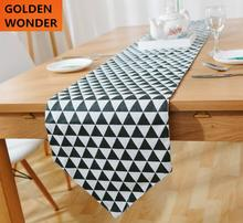 Modern Simple Black White Table Runner Fashion Runners Cotton and Lien Cloth