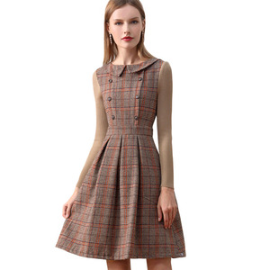 Image 5 - Only plus Winter Dress Woolen Brown Peter Pan Collar vintage dress With Buttons Knitted Long Sleeve Dress For Women