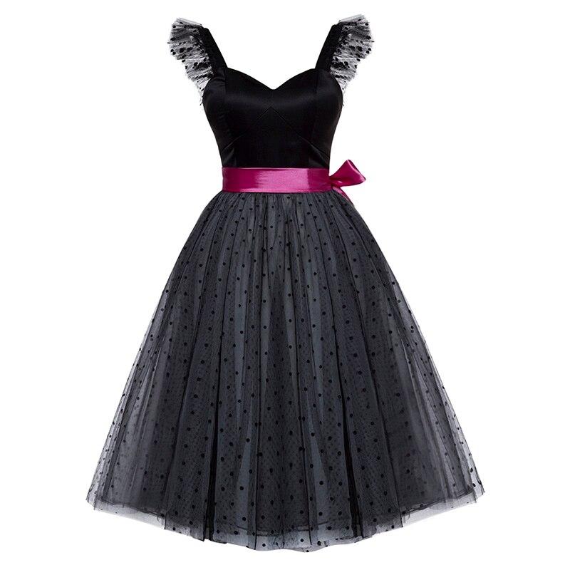 Bohoartist short dress black sleeveless knee length a line Fashion dresses women sweetheart neck sashes party dresses gown
