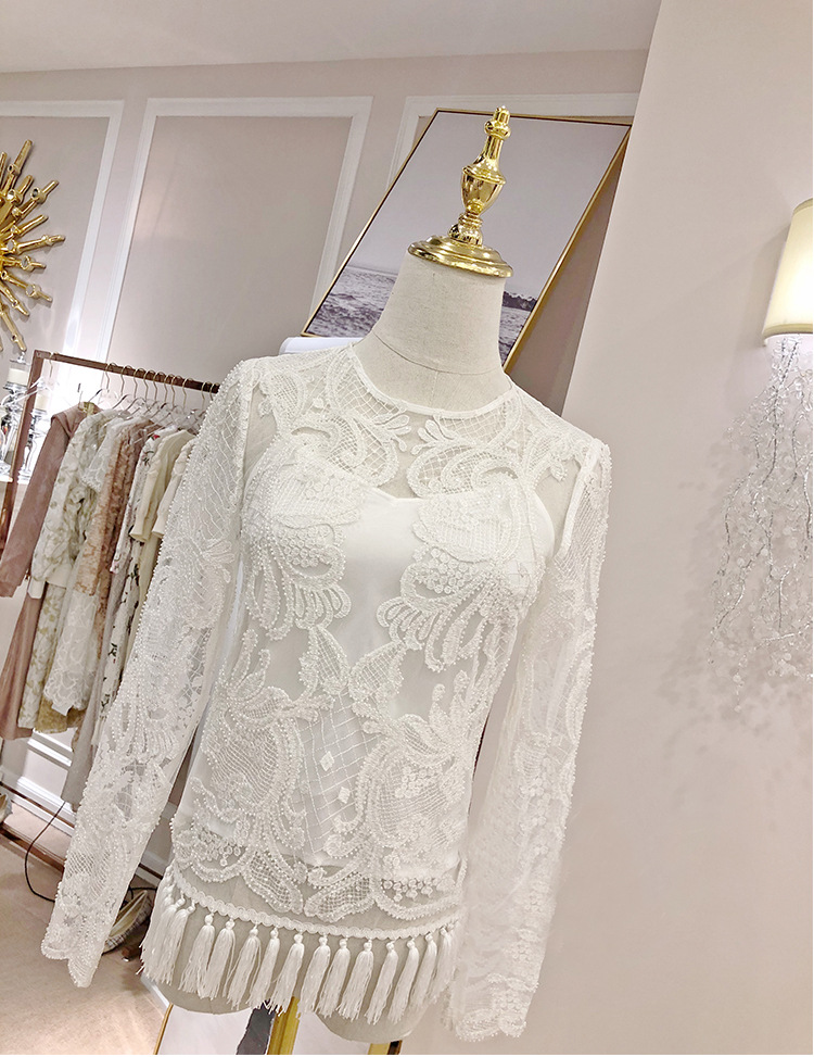 Schlank T High shirt Kenvy Perlen Frühjahr Langarm Schwere Frauen Marke Mesh Perspektive Quaste Mode end Luxus ZYYw4Cq6
