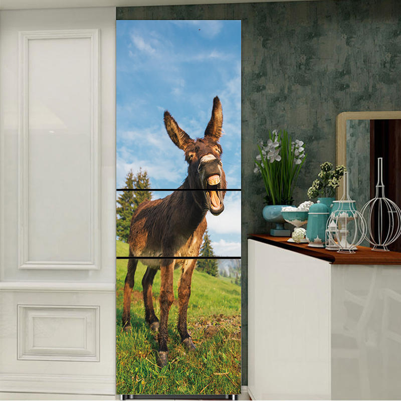 60x150cm/60x180cm Donkey Animal Pattern Fridge Sticker PVC Refrigerator Door Kitchen Self-adhesive Wall Stickers Decor