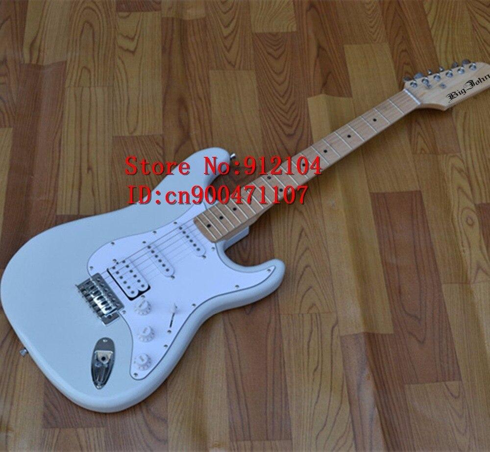 Livraison gratuite nouvelle guitare électrique à onde unique Big John en blanc avec corps en bois de paulownia fortune et F-1038 de ramassage SSH