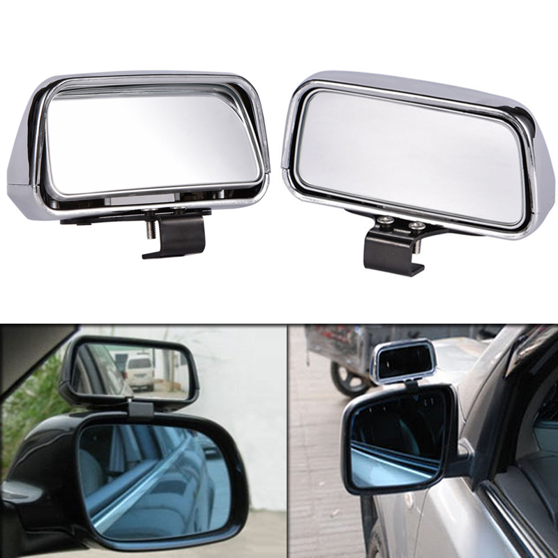 Mirror Blind Spot 2 pcs Chrome Adjustable Side Car Auto Wide Angle Rear View