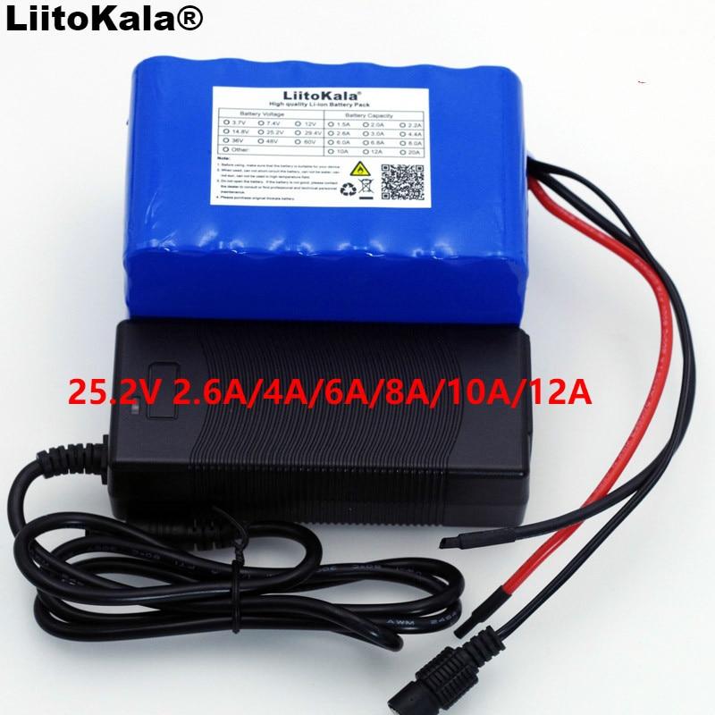 LiitoKala 24V 6s 4A 6A 8A 10A 18650 Paquete de batería 25,2 V 12Ah Li-Ion batería para batería de bicicleta 350W E bicicleta motor de 250W + cargador