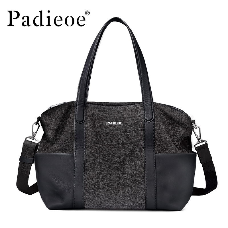 Padieoe Famous Brand Luxury Men Briefcase Top Genuine Leather Totes Messenger Bag 15 Laptop Notebook Portfolio for Male Casual padieoe mens briefcase famous brand top cowhide leather men messenger bag luxury handbags shoulder bags male business portfolio