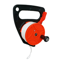 Heavy Duty Orange Plastic Scuba Diving Multi Purpose Wreck Cave Dive Reel with Handle and 150ft Nylon Line, Thumb Stopper