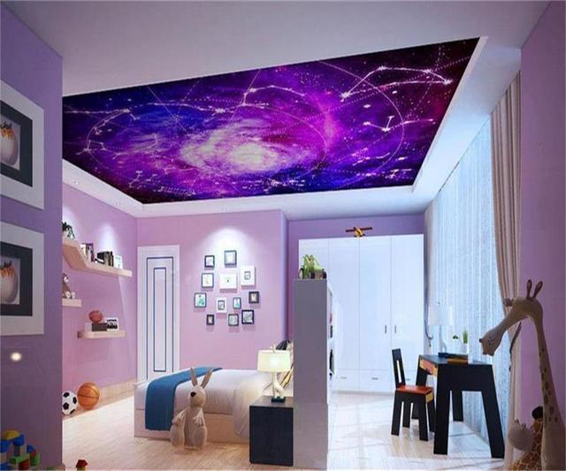 Papier Peint 3D Taille Personnalisée Photo Salon Accrocher Plafond Mural  Couleur Galaxie Constellation Peinture Non