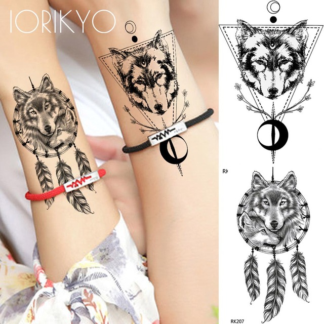 Iorikyo Lovers Wolf Totem Temporary Tattoo Stickers Black