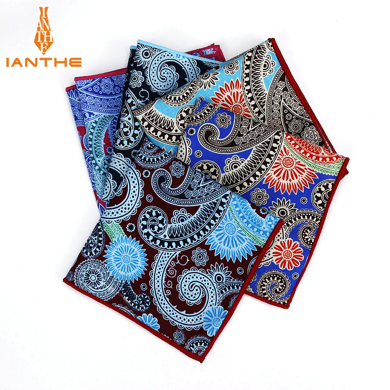 Luxury Men's 100% Cotton Paisley Vintage Pocket Square For Man Classic Handkerchief Check Hankies Suits Wedding Print Towel