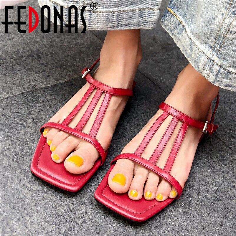 Fedonas Vrouwen New Classic Merk Flats Echt Leer Flats Schoenen Gesp Zomer Sandalen Schoenen Vrouw Elegante Flats Sandalen Aromatisch Karakter En Aangename Smaak
