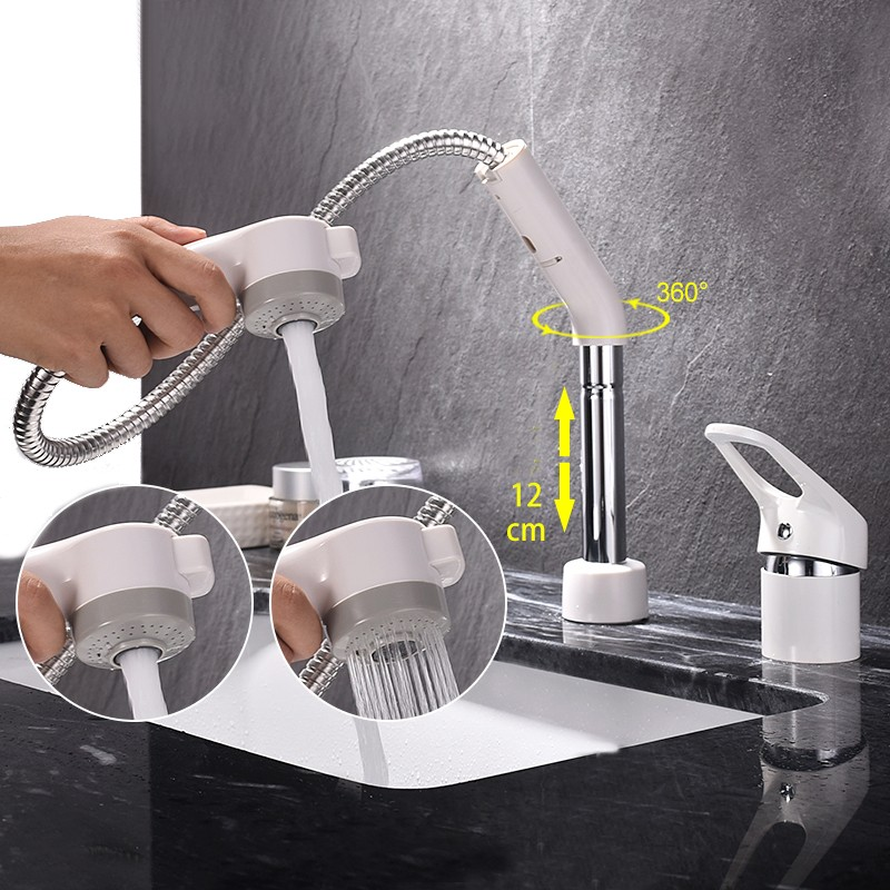 Free shipping 360 Swivel 100% Solid Brass Single Handle Mixer Sink Tap Pull Out Down Kitchen Faucet white and chrome color KF771 kitchen chrome plated brass faucet single handle pull out pull down sink mixer hot and cold tap modern design