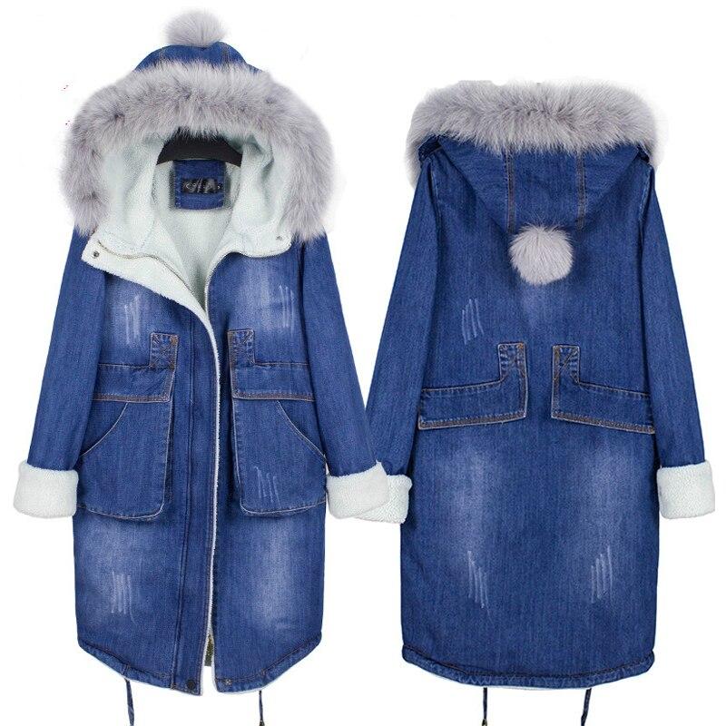Winter Women Coat And Jacket 2017 New Autumn Wool Liner Jeans Denim   Parkas   Femme Casaco Hooded Wiht Fur Collar Woman Jackets