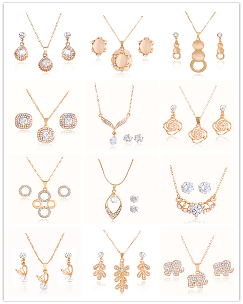 Bridal classics necklace sets mj 259 - Atreus Design African Beads Jewelry Sets Gold Color Opal Pendant Necklace With Earrings Women S Wedding Party