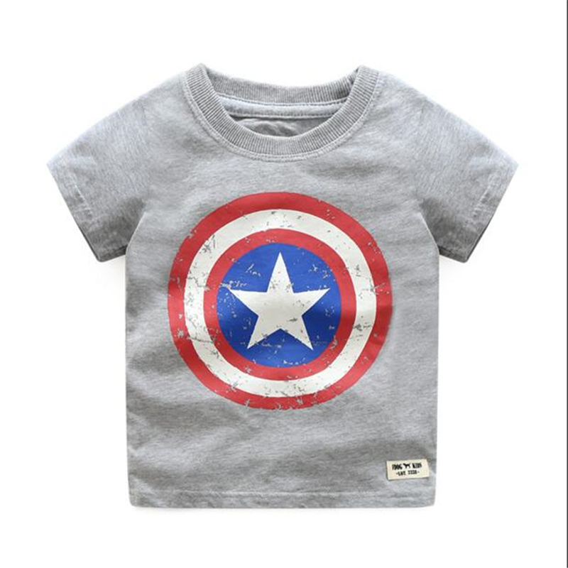 Cartoon captain america design cotton boys t shirts