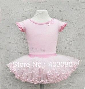 4-8 years Korea pink And white short sleeves Children's ballet skirt,girls's  braces skirt dancing dress