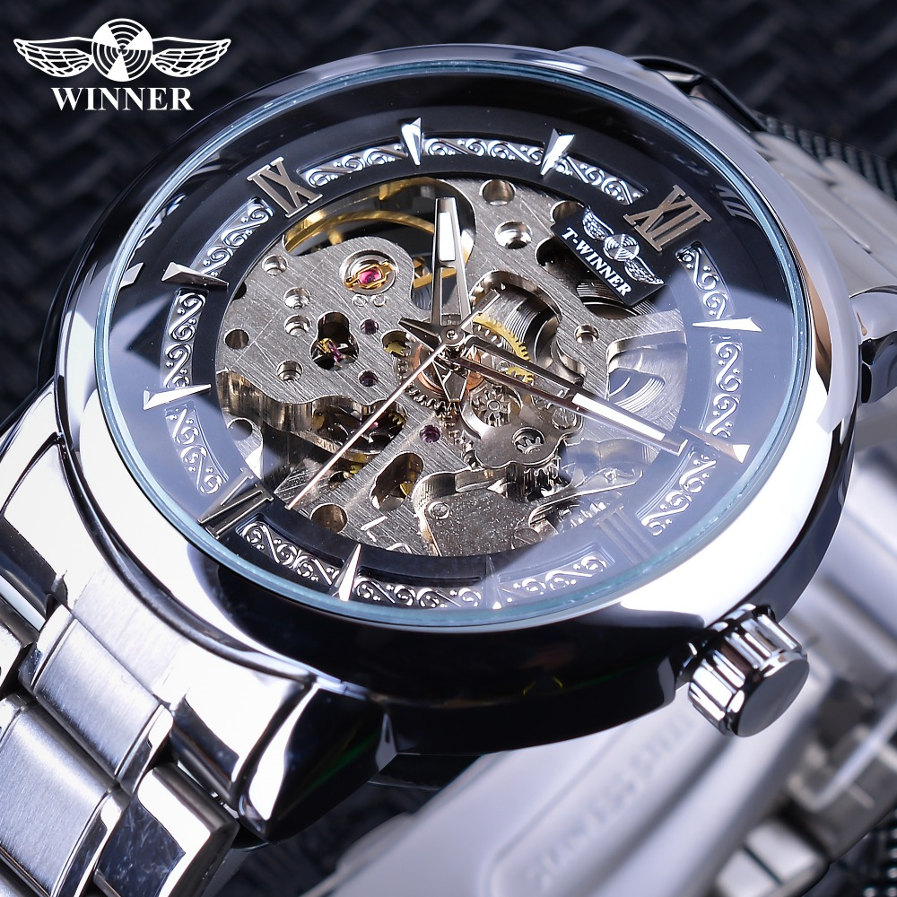 Winner Retra Silver Stainless Steel 2019 Luminous Hands Mens Mechanical Automatic Watches Top Brand Luxury Openwork Male ClockWinner Retra Silver Stainless Steel 2019 Luminous Hands Mens Mechanical Automatic Watches Top Brand Luxury Openwork Male Clock