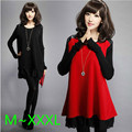 2016 New Winter Warm Sweater Dress for Women Ruffle Cotton Big Plus Size Leather Casual Lady Pullover Top Tunic Red,Black M~3XL