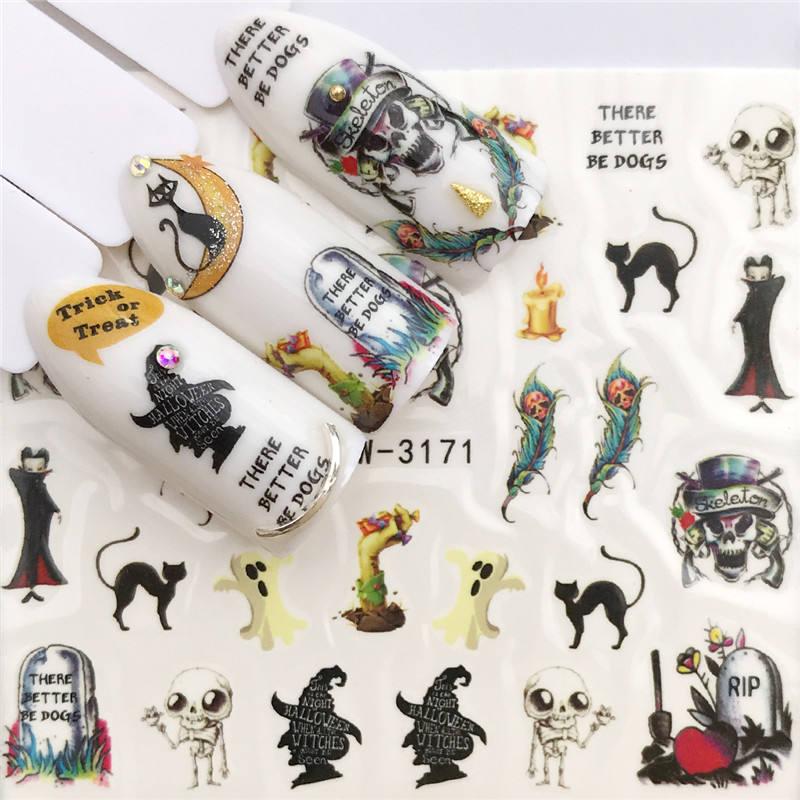 WUF 1 Folha de Etiqueta Da Arte Do Prego Osso Do Crânio do Dia Das Bruxas Decoração de Unhas Folha De Transferência de Água Decalques Manicure