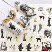 WUF 1 hoja de Arte de uñas de Halloween calcomanías de transferencia de agua de hueso de calavera decoración de manicura de uñas
