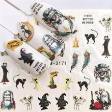 WUF  1 Sheet Halloween Nail Art Sticker Skull Bone Water Transfer Decals Nails Foil Manicure Decoration стоимость