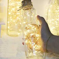 2 M 20 LED luces de Navidad cadena LED de alambre de cobre luces de hadas para fiesta de boda centro de mesa decoración para el hogar