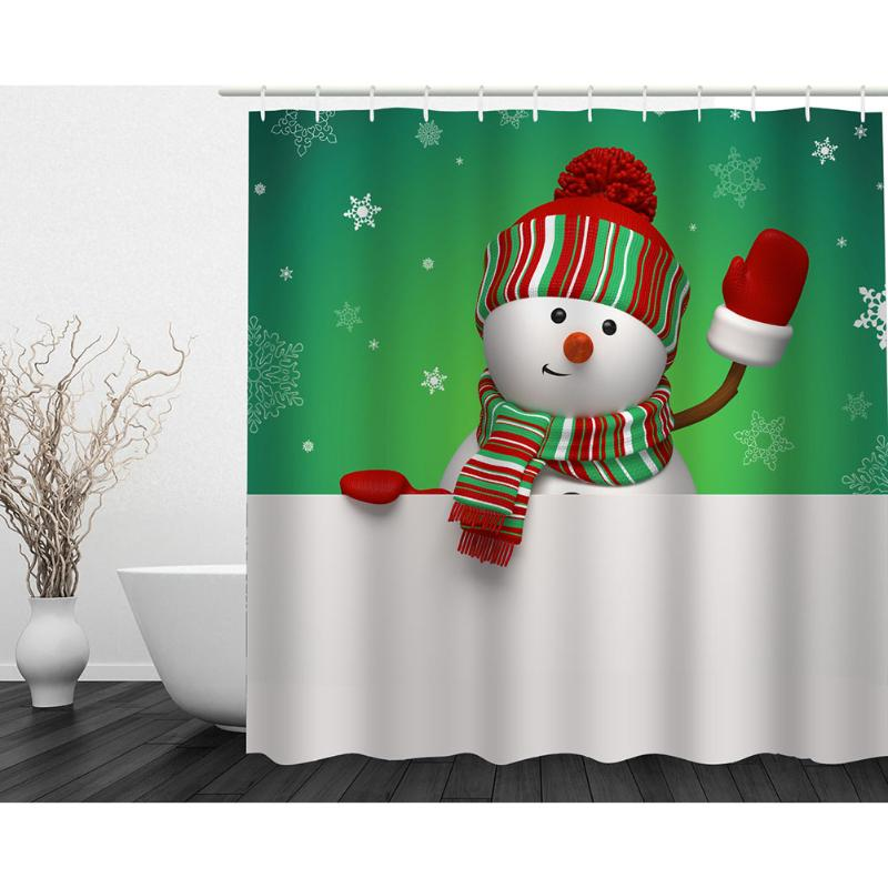 Christmas Decoration for Home 3D Shower Curtains Snowman Printing Waterproof Polyester Bathroom Curtain Bath Screen