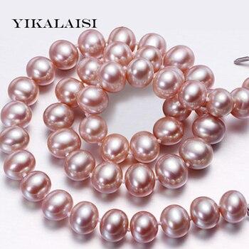 a3569e8dc5a9 Yikalaisi 2017 nueva 8-9mm verdadera perla natural Collar para las mujeres  esterlina 925 Plata Perla joyas collares collar perla