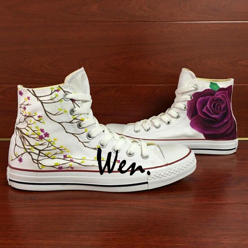 Prix pour Wen Design Original Personnalisé Peint À La Main Chaussures Floral Pourpre de Rose Femmes Hommes High Top Toile Sneakers pour Cadeaux